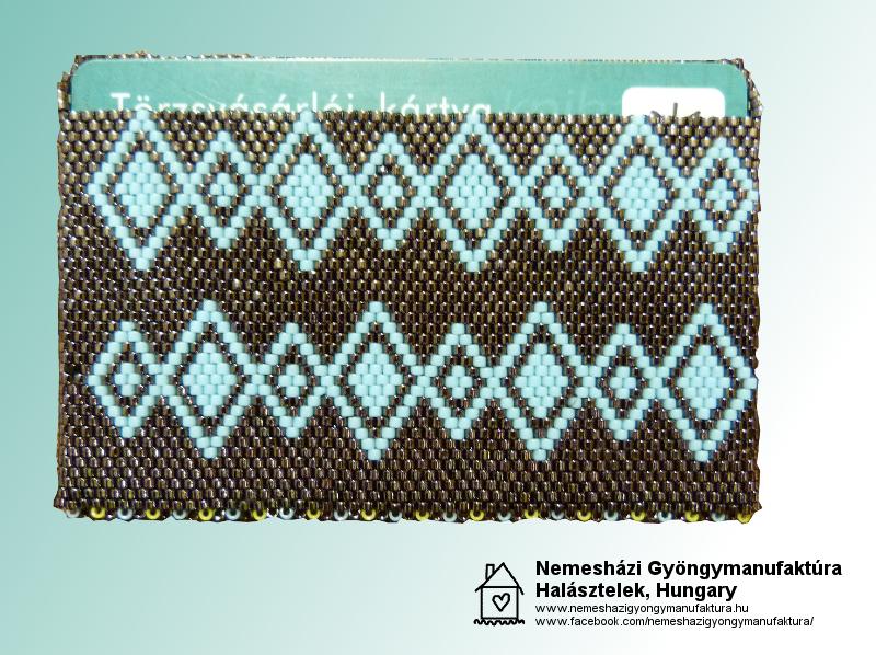 Gyöngyből fűzött bankkártya-tartó - elölnézet