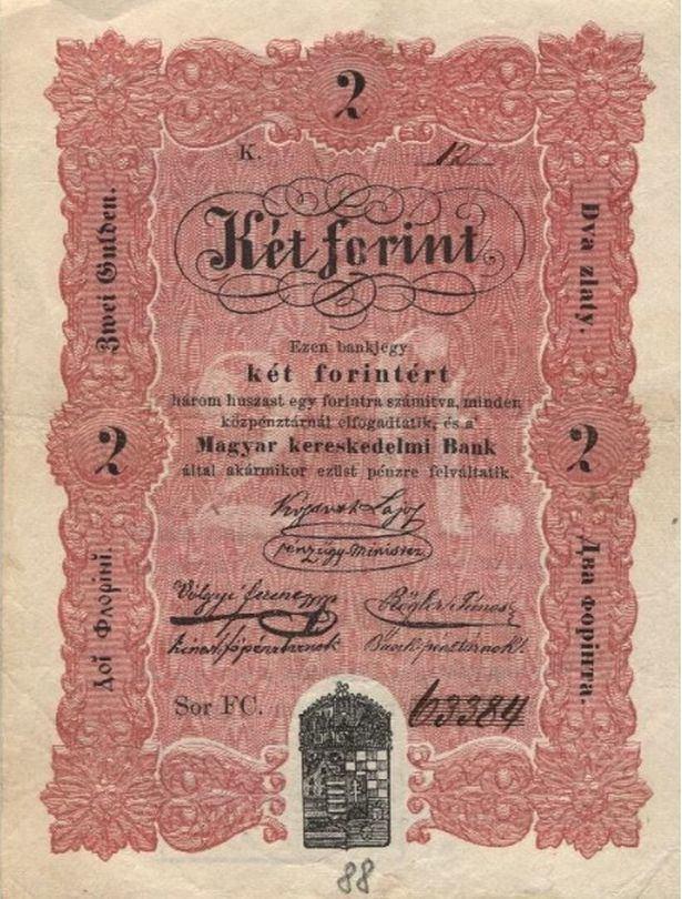 "2 forintos Kossuth-bankó - ""piroshasú"""